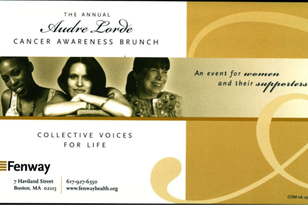 Audre Lorde Cancer Awareness Brunch Postcard. Fenway Health Archives. 1990s-2000s.