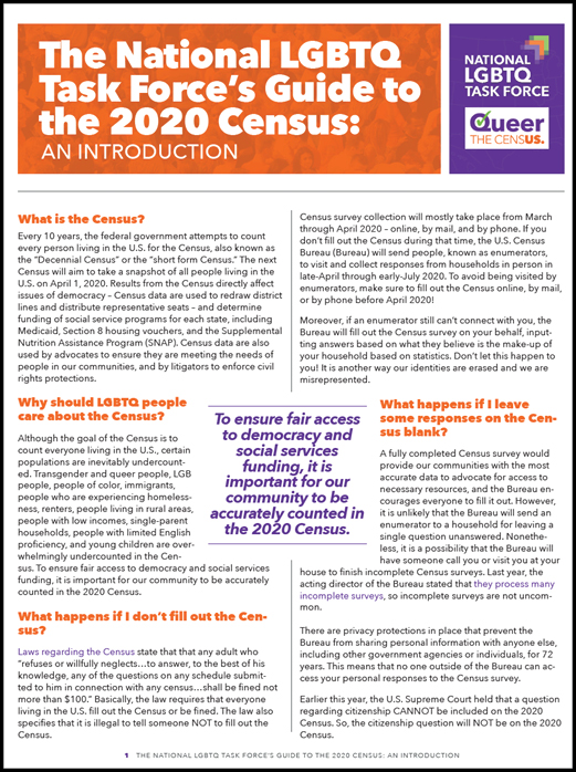 The National LGBTQ Task Force's Guide to the 2020 Census: An Introduction